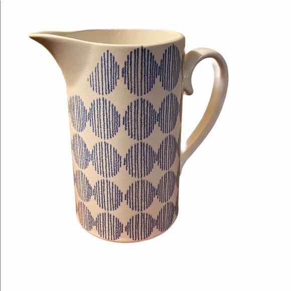 Earthenware Pottery Vase Blue & White